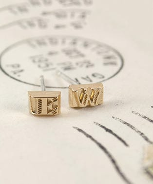 Erica Weiner Movable Type Earrings (Gold Vermeil)