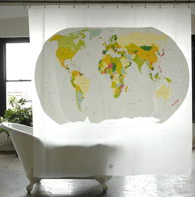 Superior Refresh Your Knowledge On World Geography In The Shower With This Eco  Friendly Plastic Curtain.