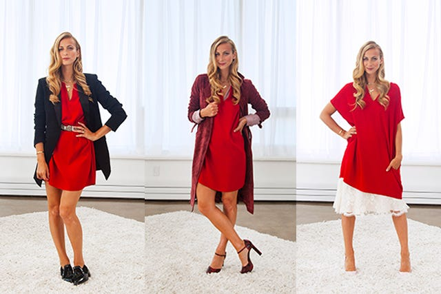 Red Shift Dress Outfit Ideas