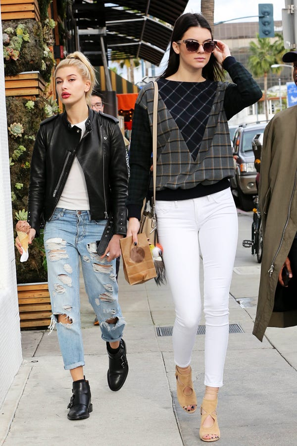 Kendall Jenner White Jeans Outfit