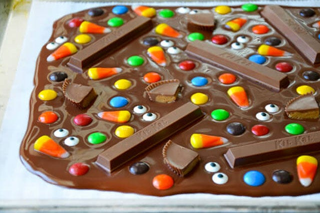 photo courtesy of just a taste halloween candy bark - Halloween Trets
