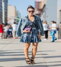 Electric blue and lipstick fuchsia spots get united with a basic denim jacket.