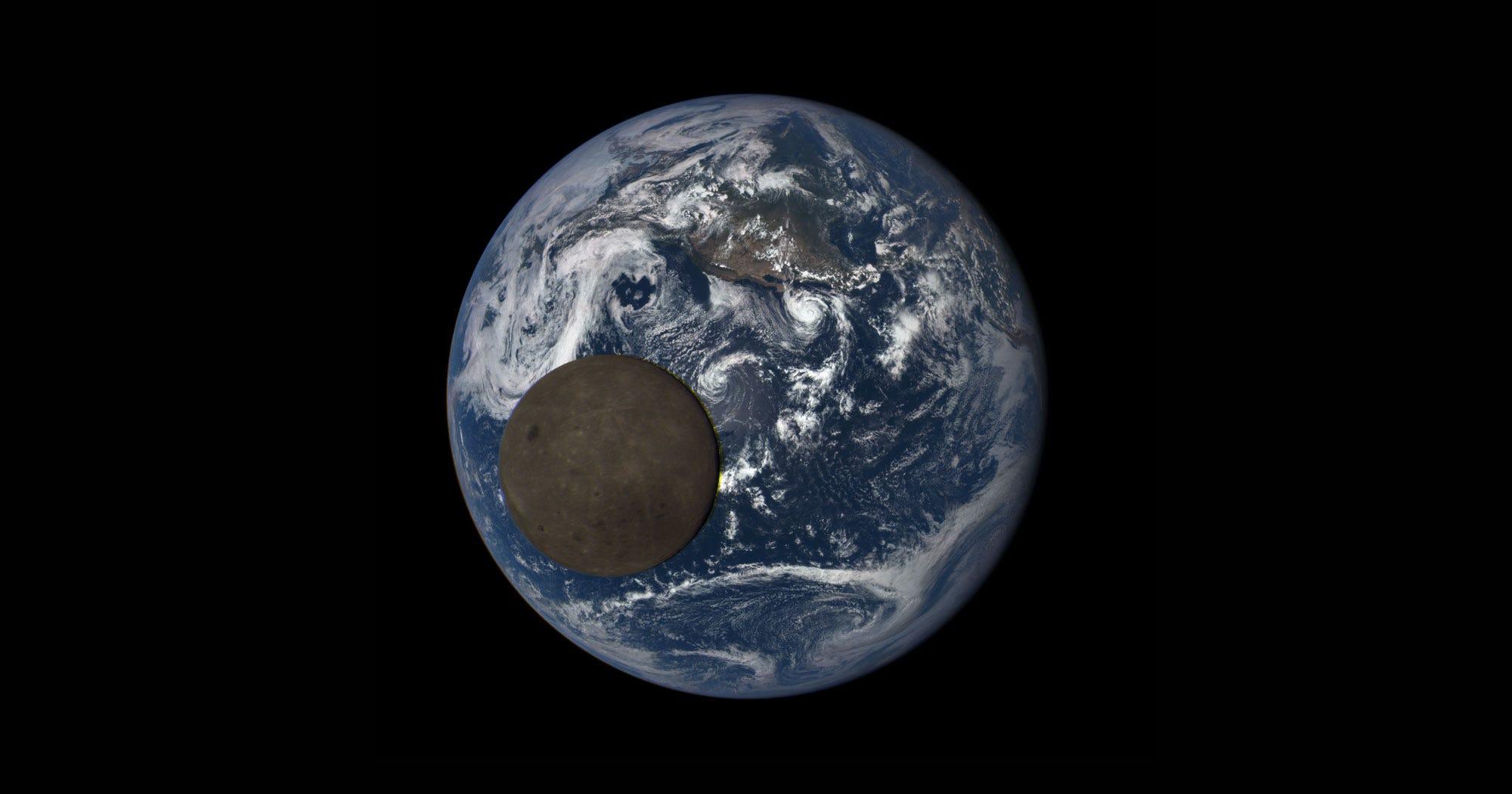 NASA Camera Captures Moon Crossing Earth