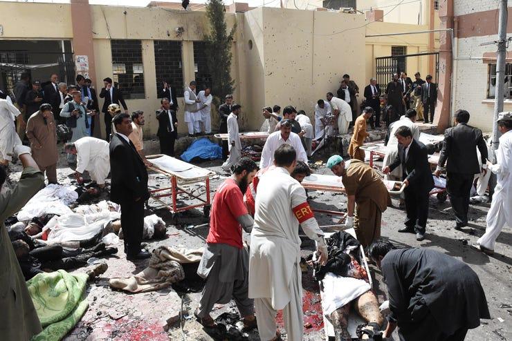 Bomb targeting mourners at Pakistan hospital kill at least 10