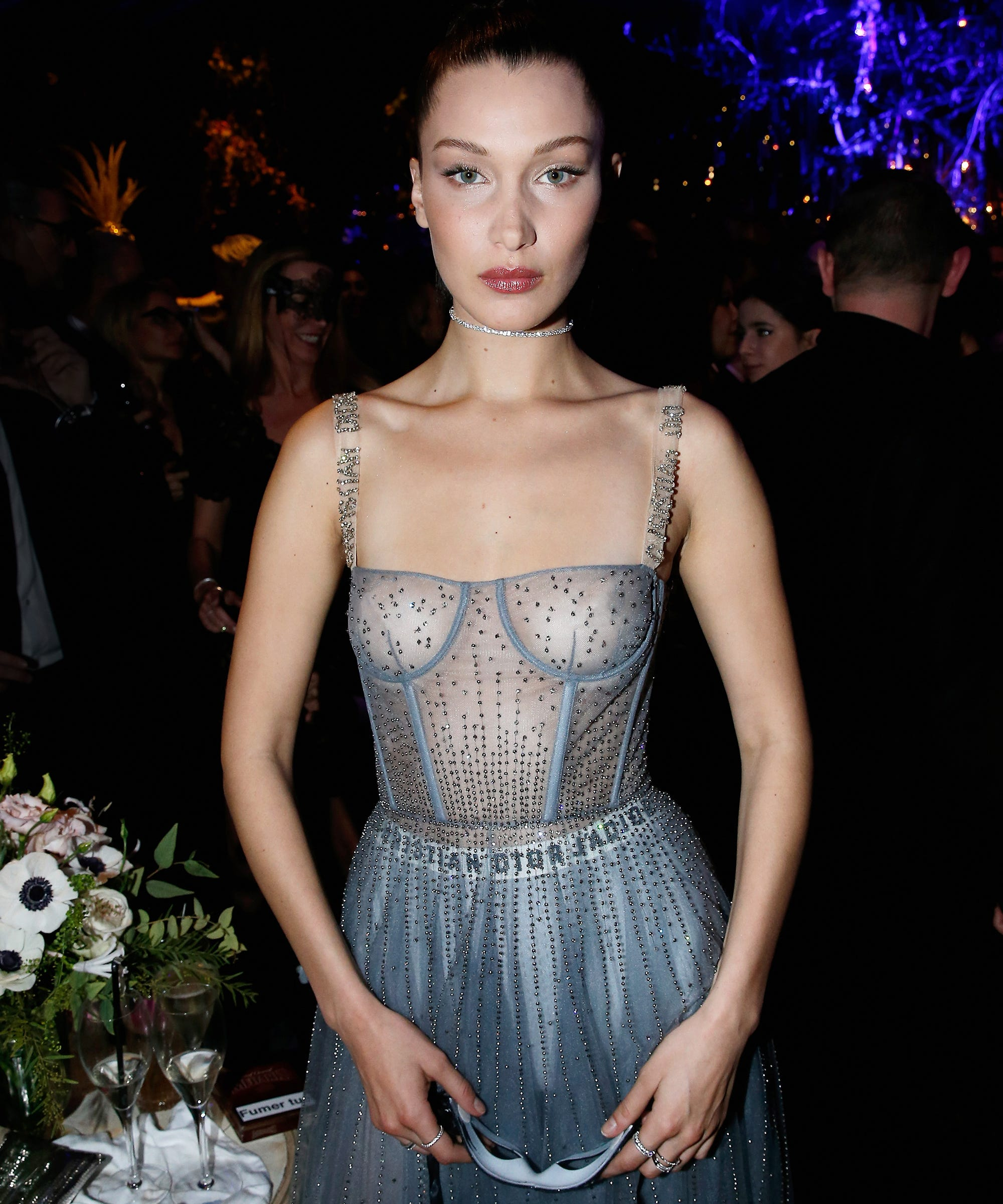 Bella Hadid freed the nipple at a fancy Paris Fashion Week party