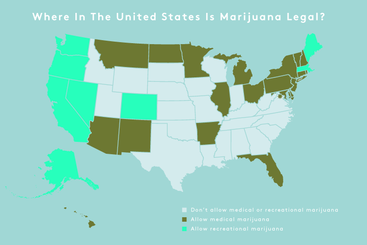 Where Is Weed Legal Recreational Weed States - Us map of legal weed 2017