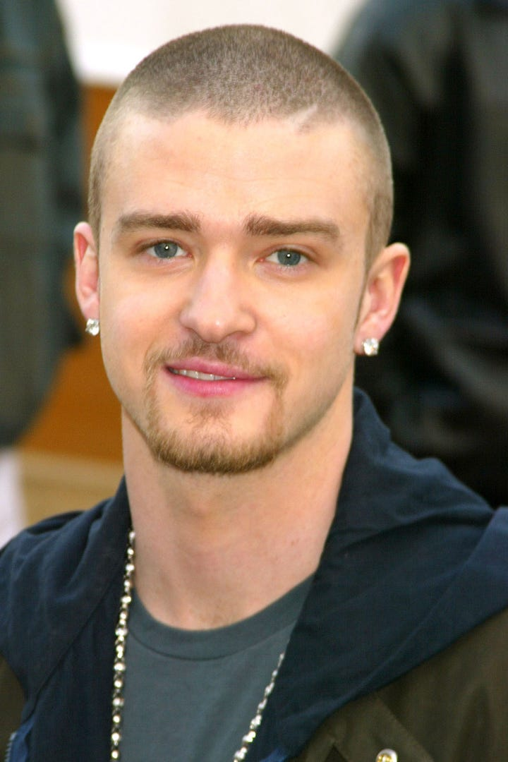 Justin timberlake hair style transformation throwback photo jeffrey mayergetty images urmus Choice Image