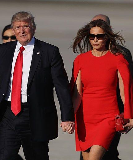 Trumps Mar A Lago Trip Melania Red Dress Designer