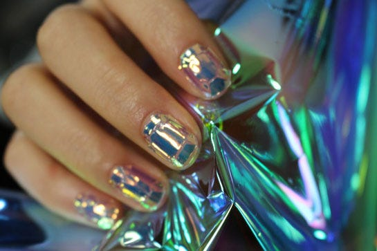 Shattered glass nail manicure trends glass nail stickers come in two templates the fragmented shards pictured so far and this cut gemstone arrangement i mean who doesnt want diamond prinsesfo Choice Image