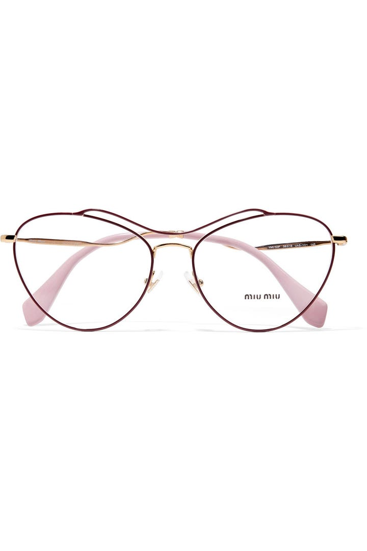 miu miu cat eye acetate and gold tone optical glasses 320 available at net a porter - Wire Frame Glasses