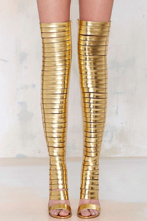 gladiator boot trend gold thigh high boots