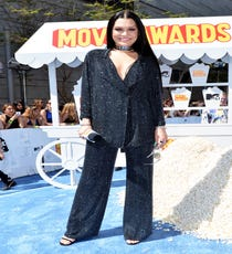 A sparkling leisure suit sounds like something you might wear to your 50th high school reunion, but there are certain people in the world that can make anything look modern. Jessie J is one of those special unicorns, and her baggy tux (detailed with Jennifer Fisher jewelry) is reminiscent of Barbra Streisand, Cher, and a dozen other divas who know the power of a little (okay, a lot) of sparkle.For A Similar Style Try:H&M Sequined Jacket, $59.95, available at H&M.