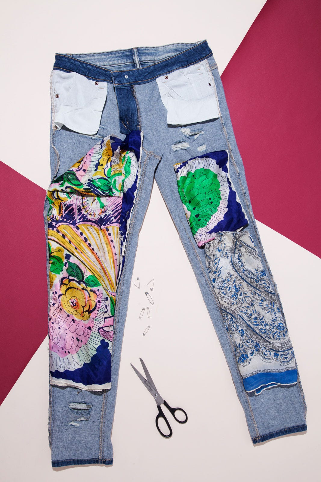 Easy DIY - Fashion Distressed Patchwork Jeans