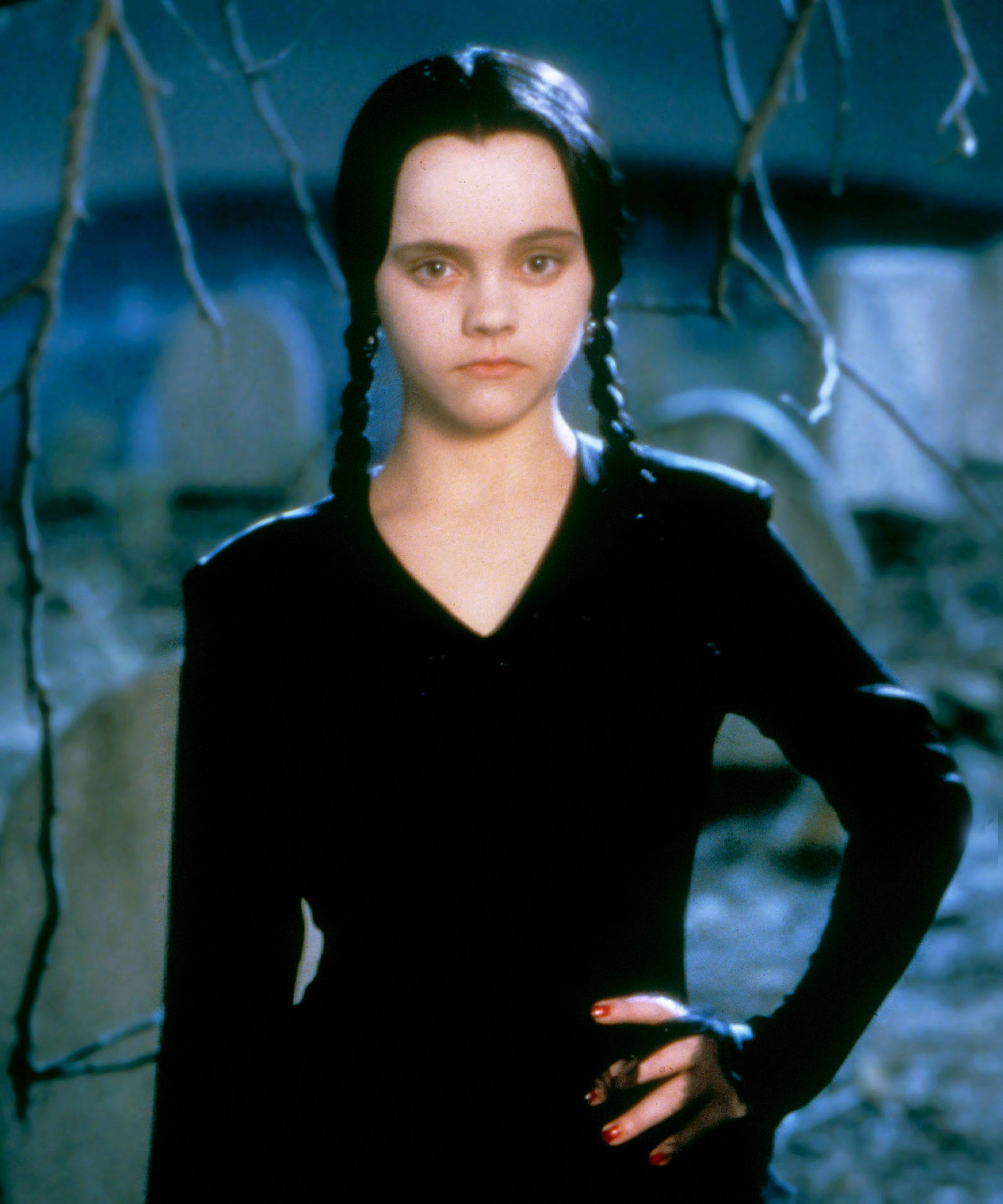 Wednesday Addams Halloween Costume Wig Dress All Black