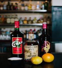 You'll Need:  1 oz rye (Dominic likes Templeton)  1 oz Cynar Artichoke Amaro  1 oz Contratto Sweet Vermouth Rosso  A pinch of salt  A lemon to garnish