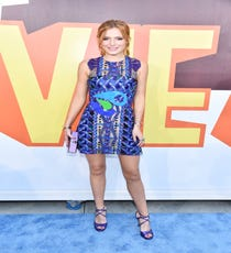Peter Pilotto is the king of embellishments, and Bella Thorne's minidress definitely shows off the designer's more-is-more approach. However, the simple shape allows for a lot of wiggle room, and the combination of ribbons, lace, cord, rhinestones, and plastic paillettes manages to look harmonious. Her simple satin Jimmy Choo shoes and Edie Parker clutch also help keep things feeling cohesive.For A Similar Style Try:Parker Audrey Beaded Halter Dress, $418 $250.80, available at Saks Fifth Avenue.