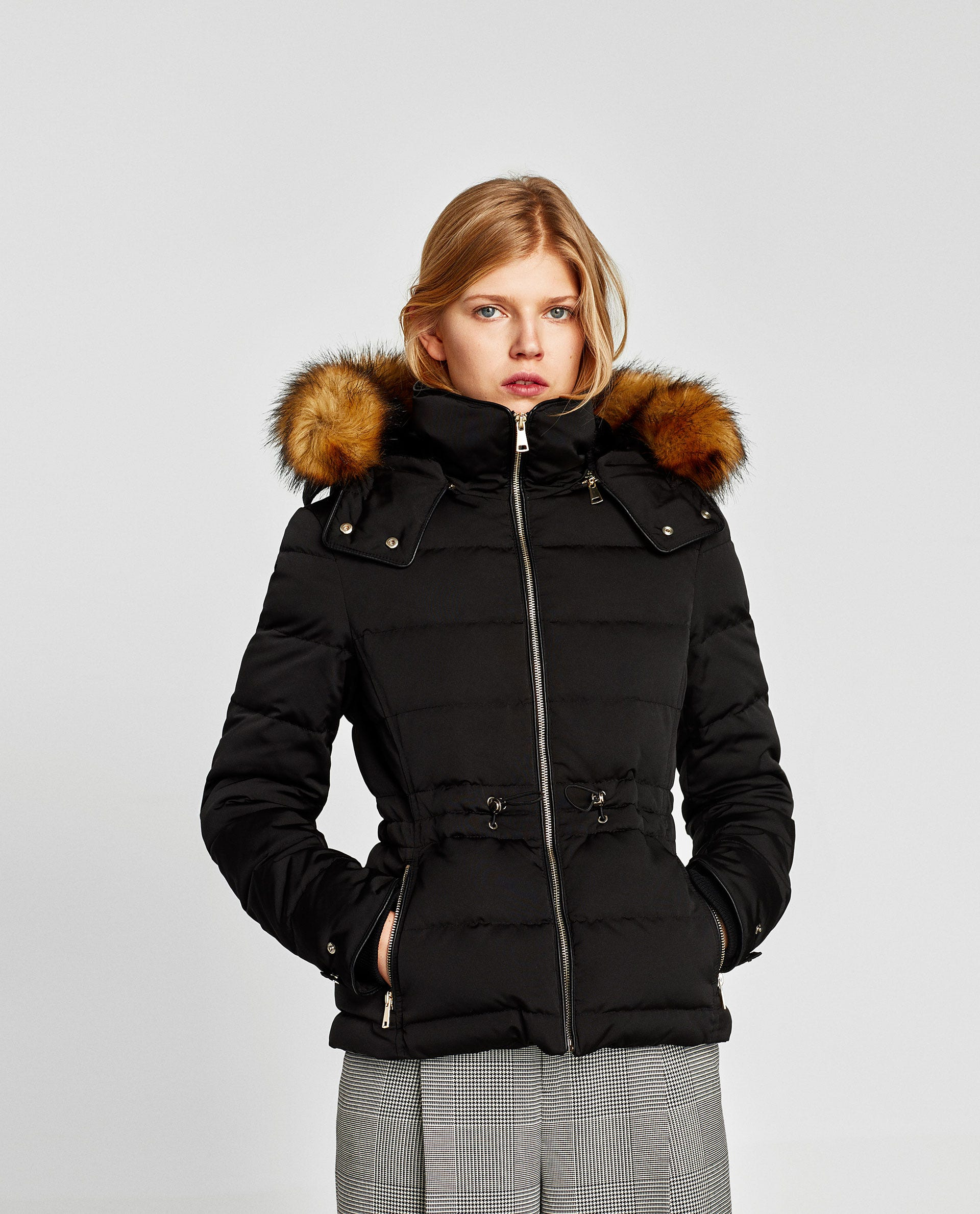 Zara Black Quilted Jacket With Faux Fur Trimmed Hood