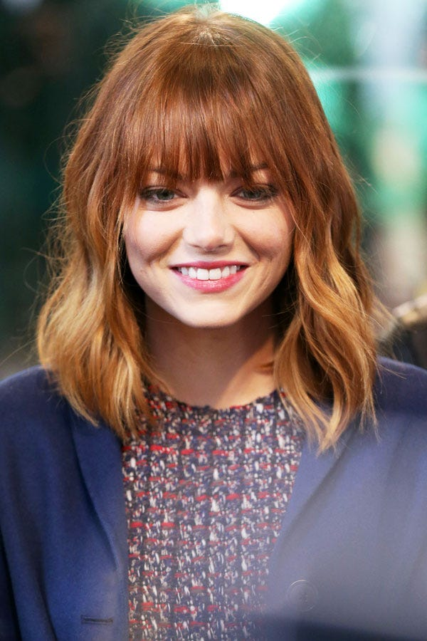 Emma Stone Hair New Bangs Celebrity Beauty