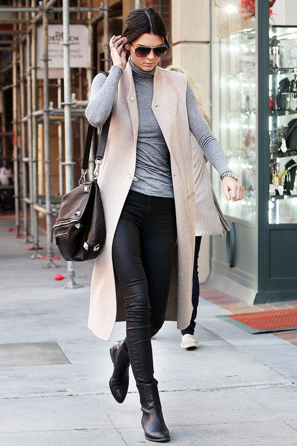 Kendall Jenner Sleeveless Coat Outfit