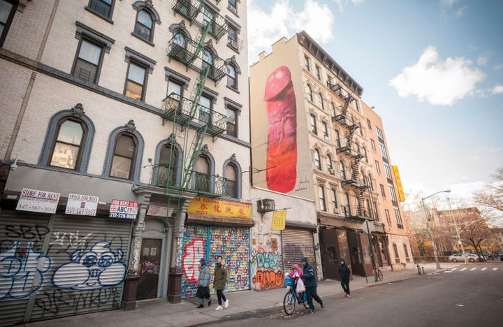 Penis mural new york painted over lower east side for Mural on broome street