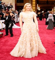 Cate Blanchett — We choose one statement jewel — earrings, a necklace, a ring — and make it count. But, Cate Blanchett wears a statement jewel, an Armani Privé dress, and then tops it with stunning earrings. Yep, that's just the kind of next-level, perfectly on-point ensemble we couldn't look away from.