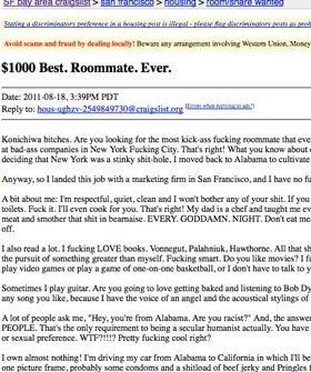 the craziest craigslist roommate ad you 39 ve ever read. Black Bedroom Furniture Sets. Home Design Ideas
