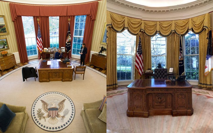 Oval office redecorated president donald trump Oval office decor by president
