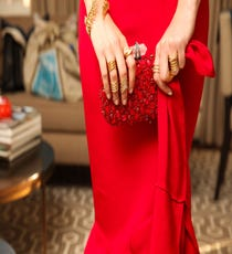 Accessorized with red gems.