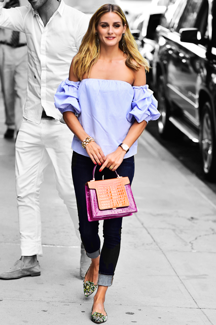 709e359258d Olivia Palermo Off The Shoulder Top Outfit