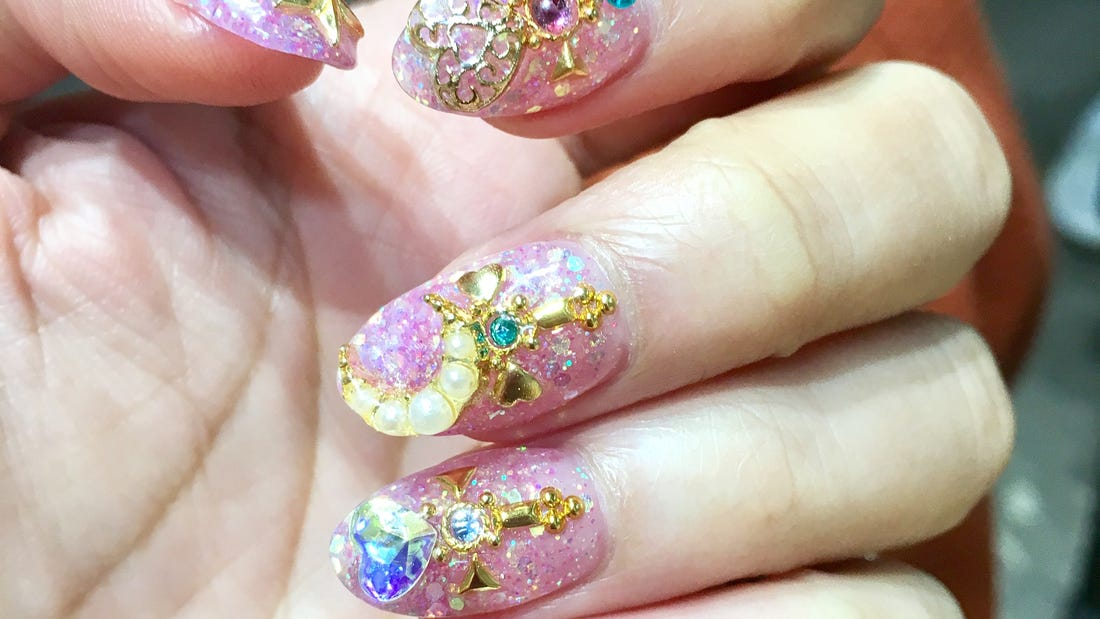 Japanese Manicure Crystal Nails Sailor Moon Inspired