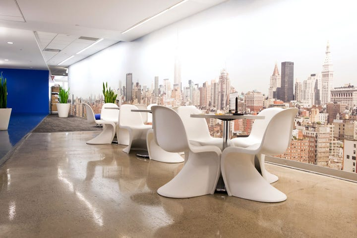 Ultimate Office Google Nyc Compound Creative One Of The Many Meeting Spaces Its Goal For The Google Brass To Provide Lots Of Space For Employees To Come Together And Work As Team Refinery29 Google Office Tour Of Googles Cool Nyc Headquarters