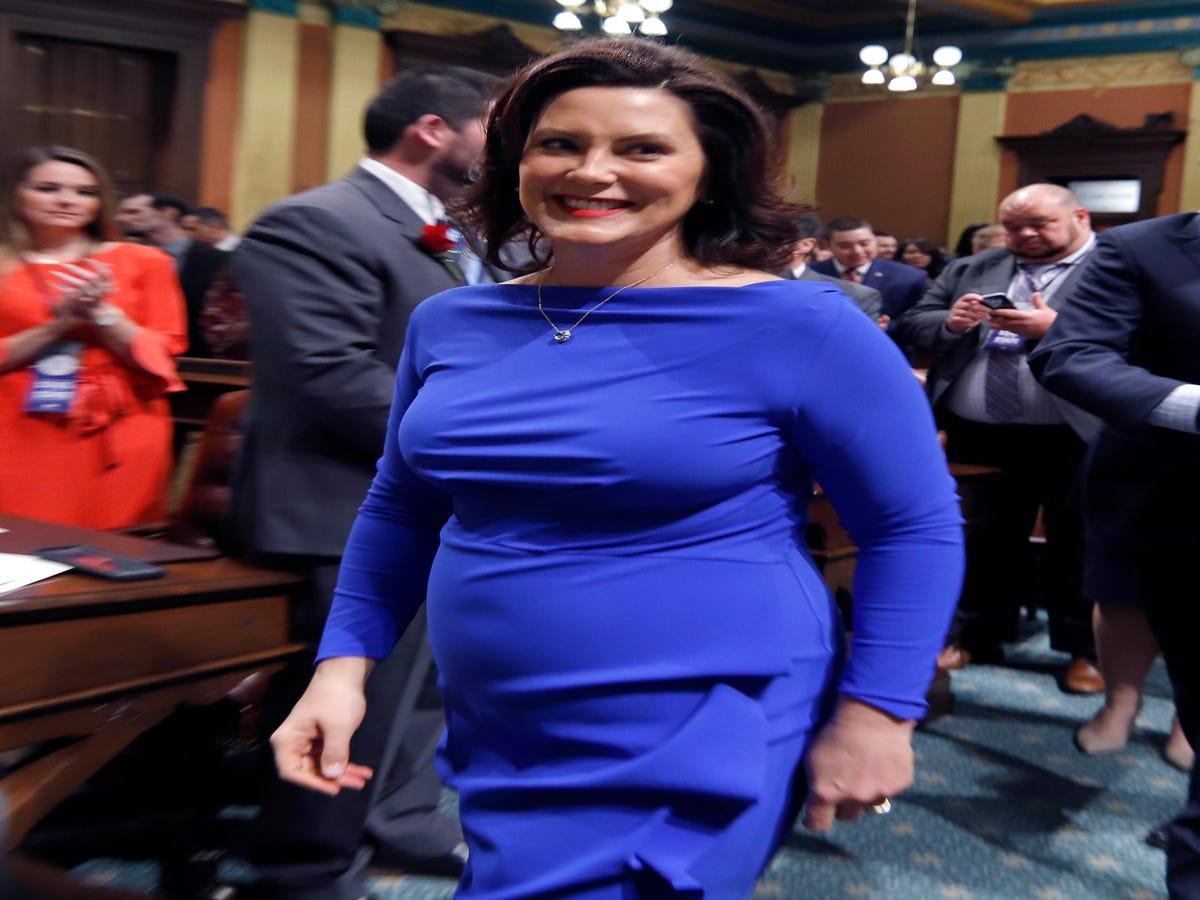 19++ Gretchen whitmer blue dress info