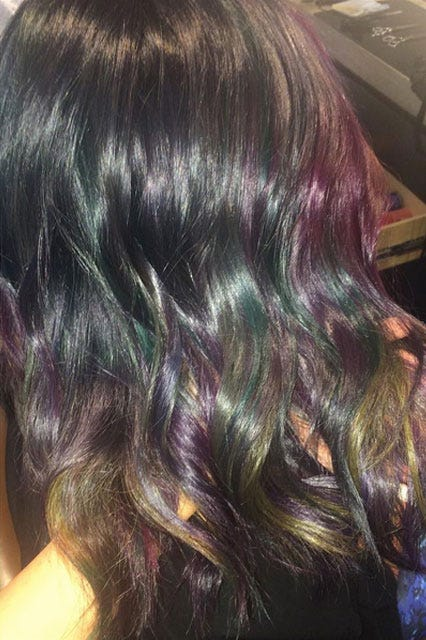 Hair coloring techniques color trends new terminology photo courtesy of aura friedman oil slick solutioingenieria Images