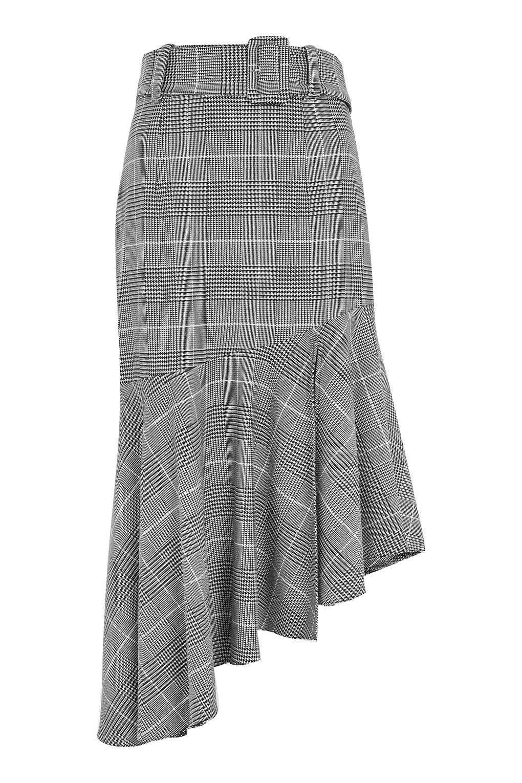5c52ace32e Midi Skirt Fall Fashion Trend, Rainbow Check Asymmetric