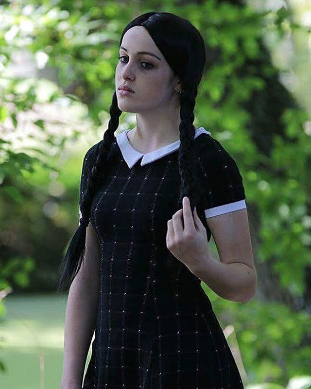 27c3fecae41 Wednesday Addams Halloween Costume Wig Dress All Black