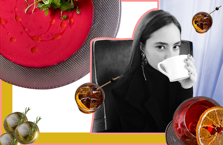Girl Sipping Coffee Drinks and Soup Around Collage