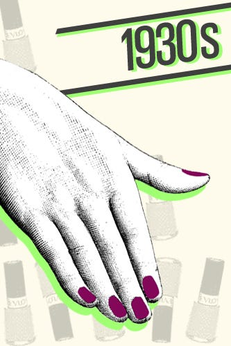 History of nail art design 1930s in 1932 the first bottle of revlons nailpolish hit shelves in colors never seen before making fashionable nail options more accessible than ever prinsesfo Images