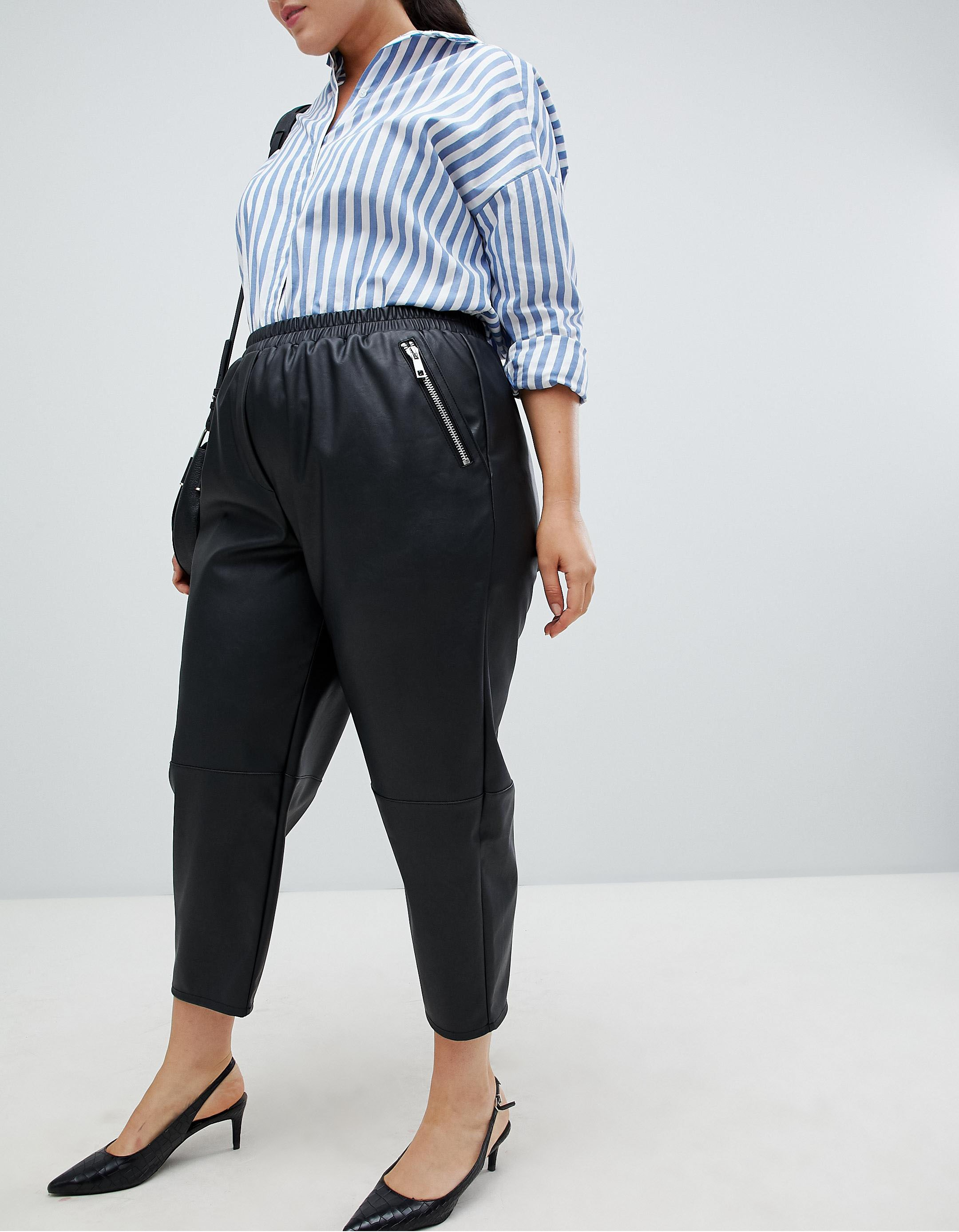 5b3a64e60c ASOS CURVE. Curve Tapered Leather Look Pants. $56.00. BUY. 4 of 21