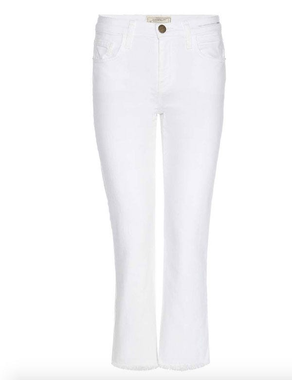 Current/elliott Woman The Kick Jean Cropped Mid-rise Bootcut Jeans White Size 30 Current Elliott