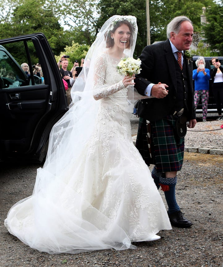 rose leslie wears vintage lacy wedding gown photos