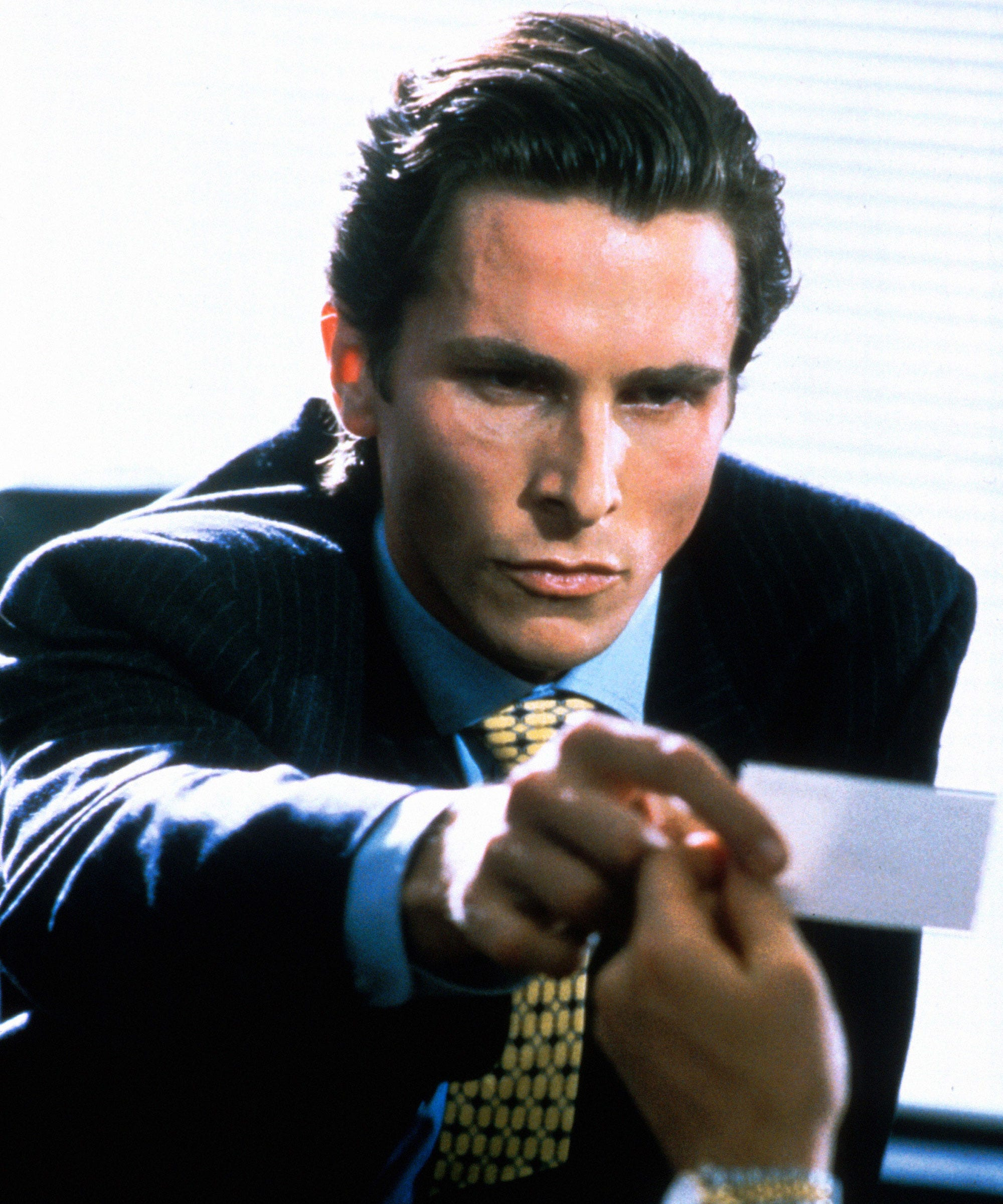 American psycho business card scene actresses reading reheart Choice Image