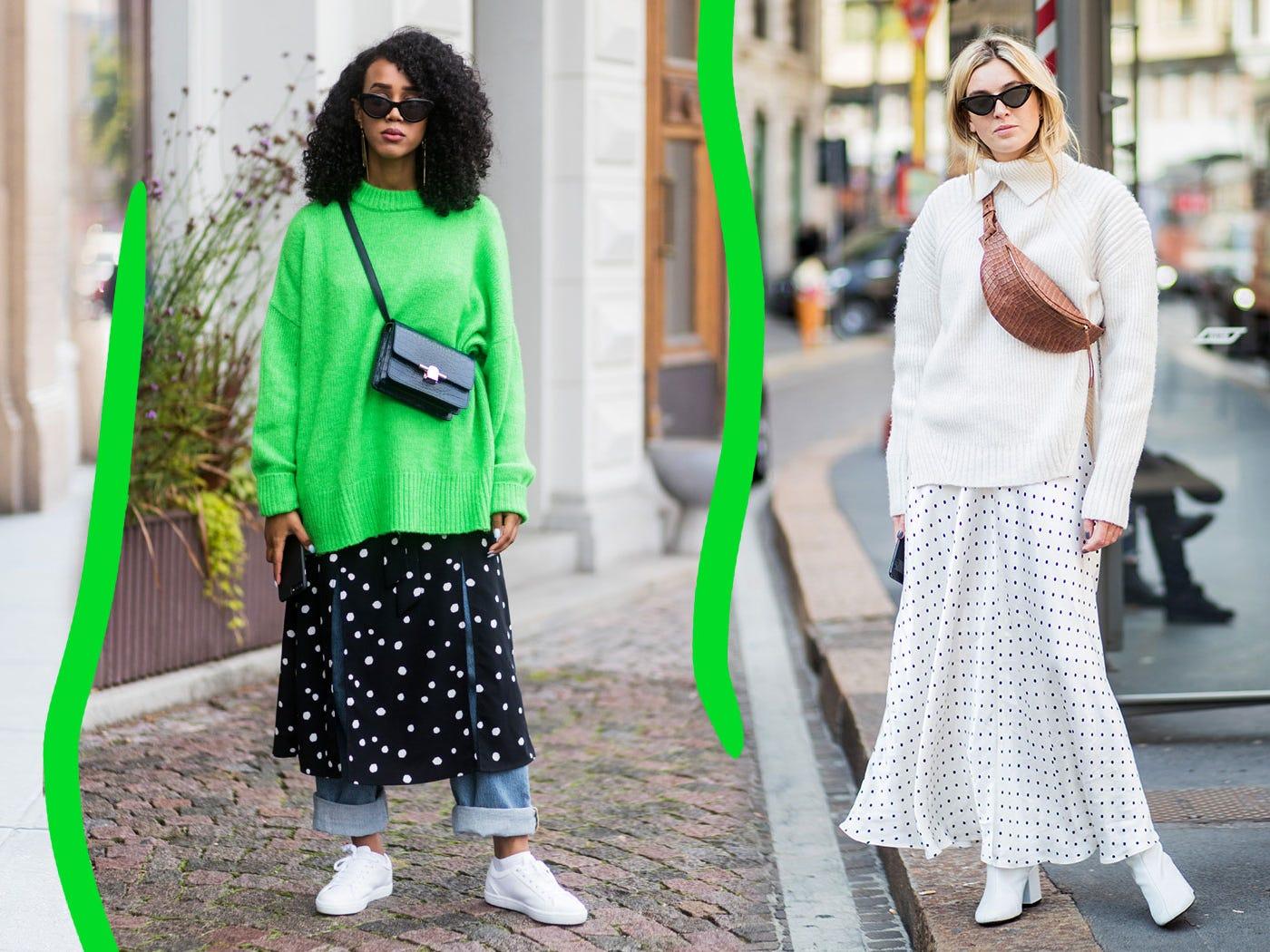 Resultado de imagen de e POLKADOT skirt paired with chunky knits