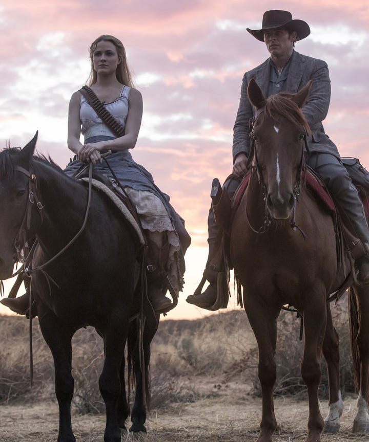 Evan Rachel Wood and James Marsden in Westworld on HBO