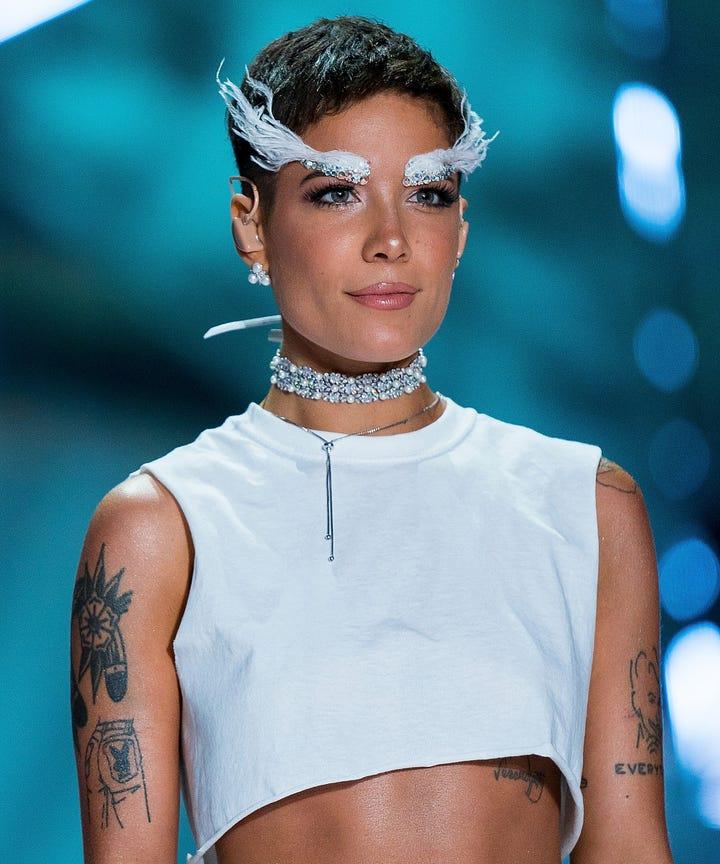 halsey victorias secret fashion show feather eyebrows