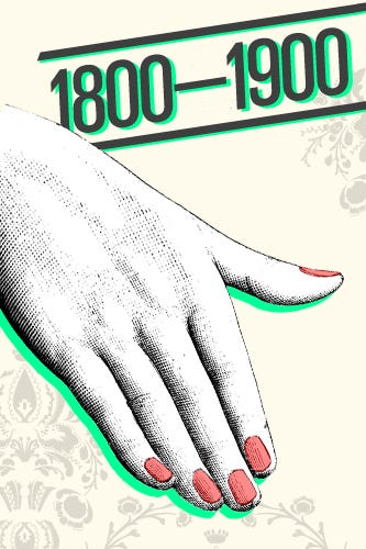 History of nail art design 1800s 1900s manicures were popular once again during the victorian age with a simple treatment of a light tint of red oil accompanied by a chamois prinsesfo Images