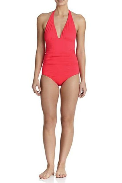 503f1174b7f One-Piece Ruched Halter Swimsuit