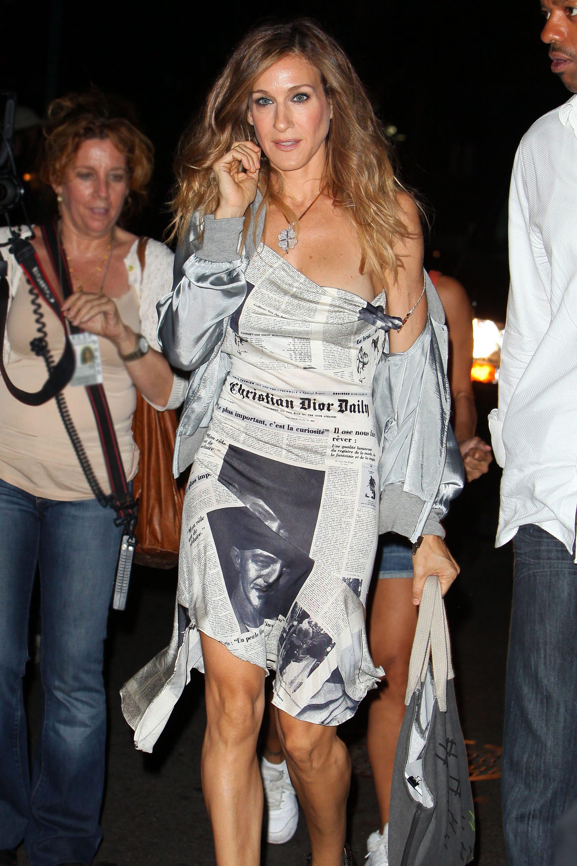 62d2ac1a Taylor Swift Galliano Carrie Bradshaw Newspaper Dress