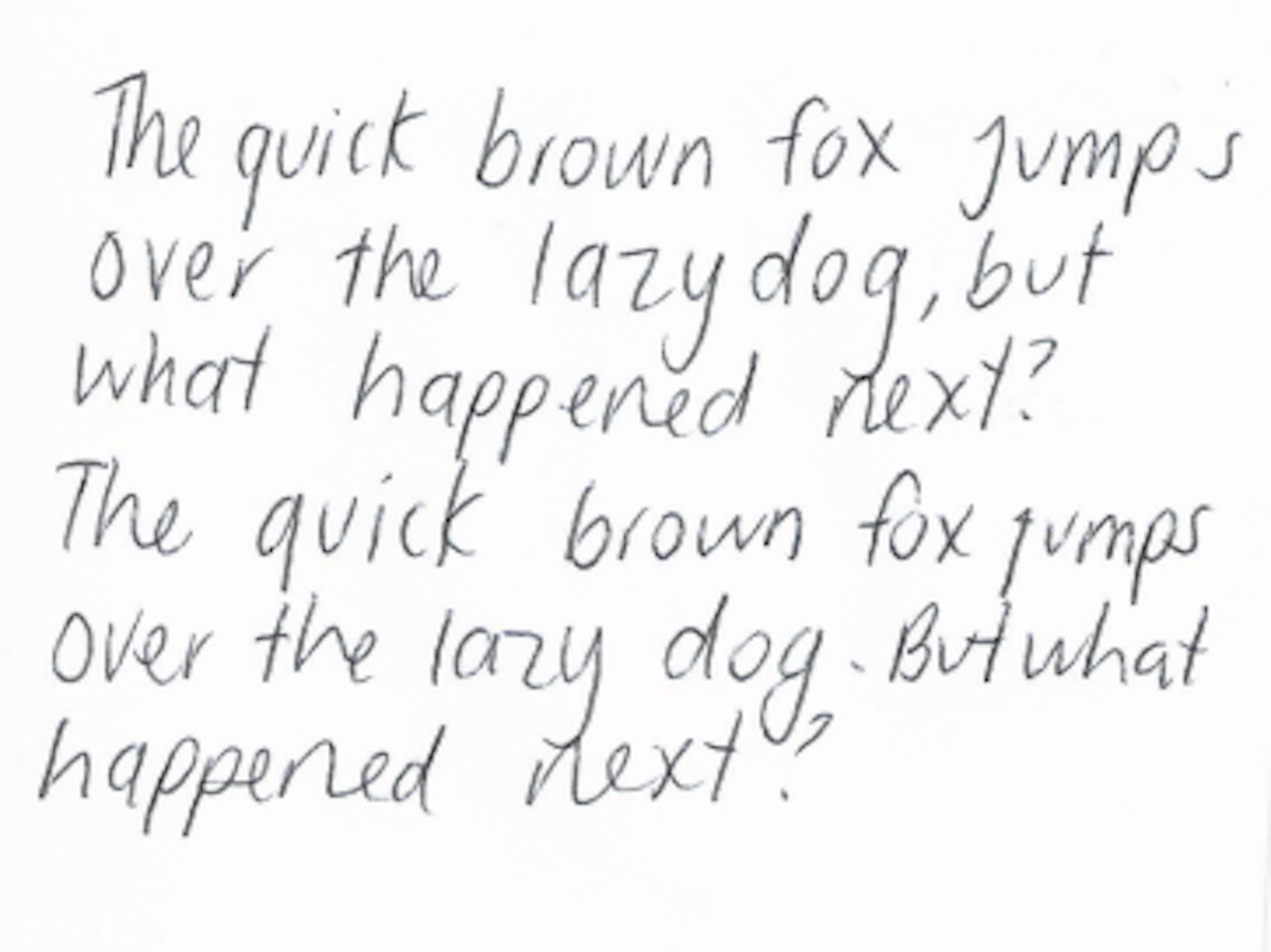 quick brown fox handwriting test