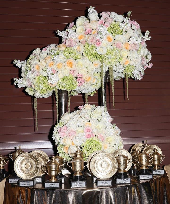 Serena Williams Wedding Decor Flowers Trophies