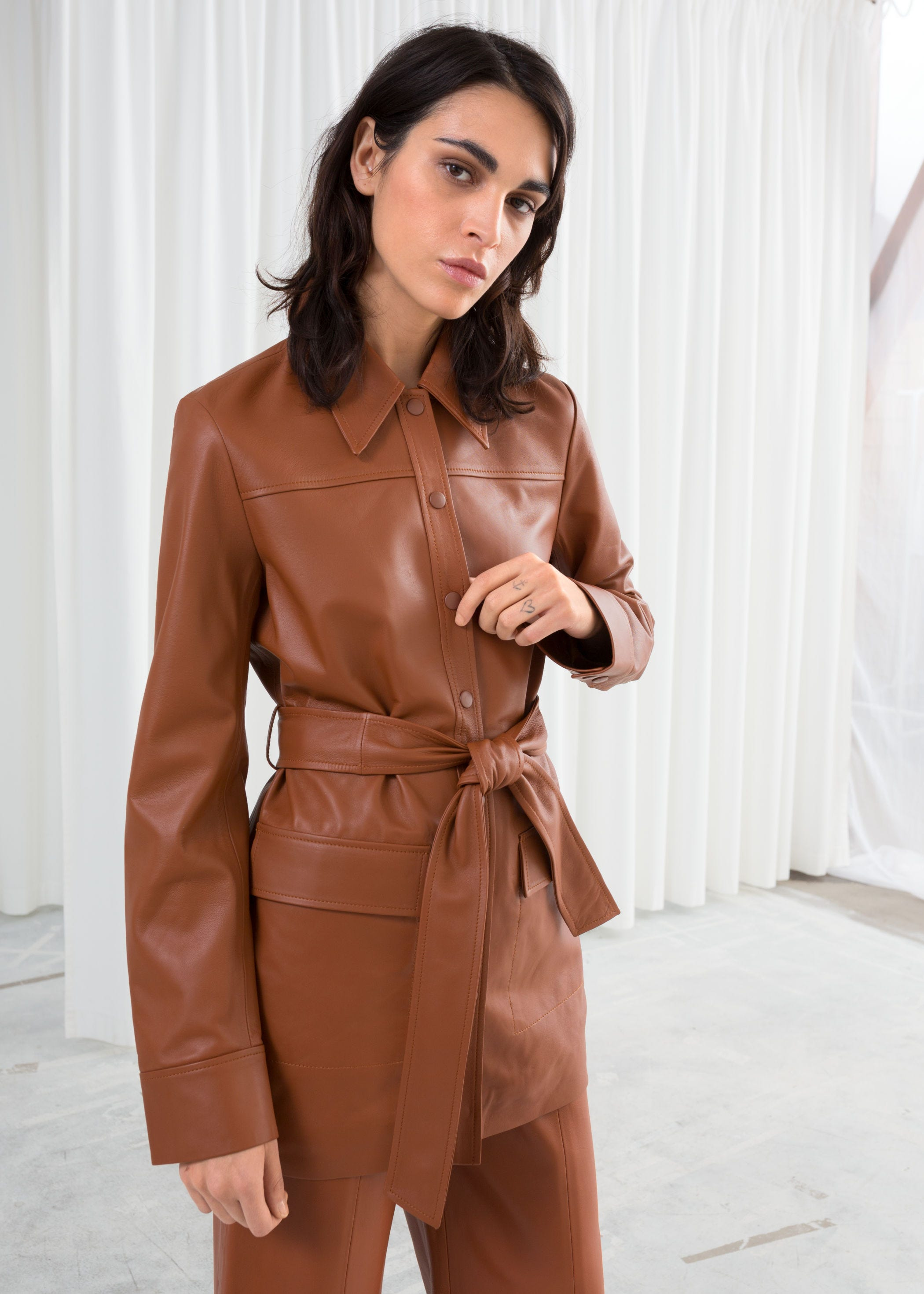 428ec38cb3 INFO ·   Other Stories. Belted Workwear Leather Jacket